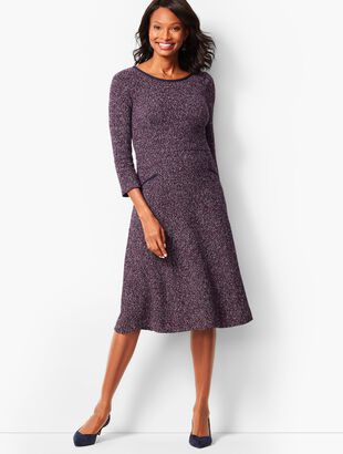 Twisted Boucle Fit & Flare Dress