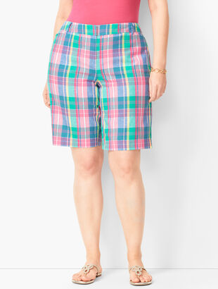 Plus Size Perfect Shorts - Bermuda Length - Madras Plaid