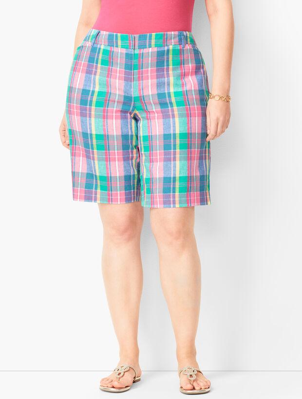 Plus Size Perfect Shorts - Bermuda Length - Madras Plaid