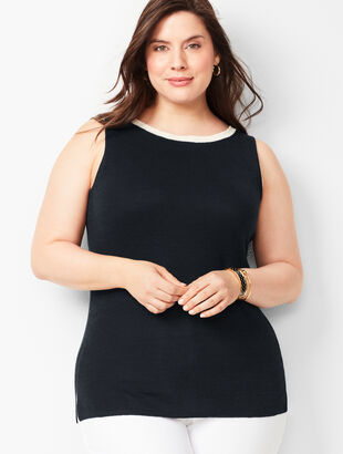 Plus-Size Tipped Linen Shell