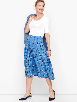 Daisy Dot Pleated Full Skirt
