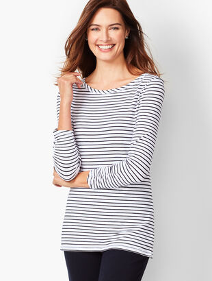 Three-Quarter Sleeve Tees - Bi-Color Stripe