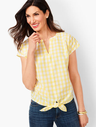Tie-Hem Check Top