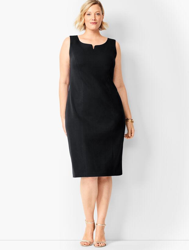 Split-Neck Refined Ponte Sheath Dress - Solid