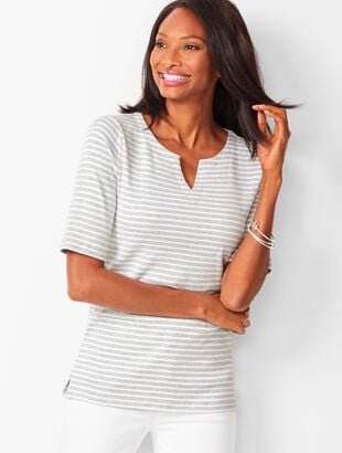 Cotton Split-Neck Tee - Heathered Stripe