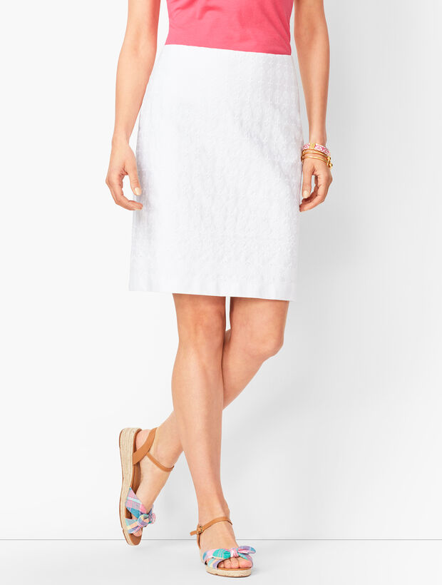 Classic Cotton A-Line Skirt - Embroidered