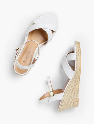 Lyndsay Crossover Espadrille Wedges - Canvas