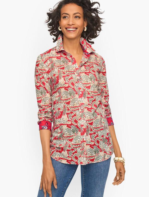 Grazing Tiger Cotton Button Front Shirt