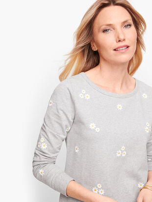 Embroidered Daisy Terry Sweatshirt