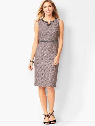 Tweed Split-Neck Sheath Dress