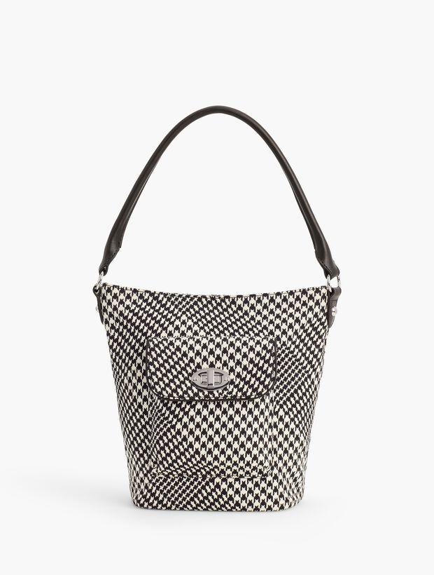 Turnlock Bucket Bag - Cotton Houndstooth