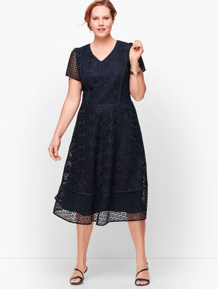 Lace And Eyelet Fit & Flare Dress