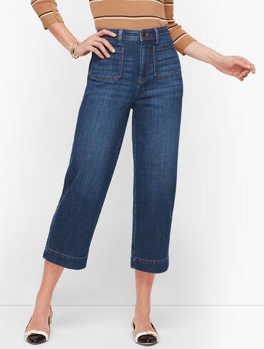 Wide Leg Crop Jeans - Curvy Fit - Comet Wash