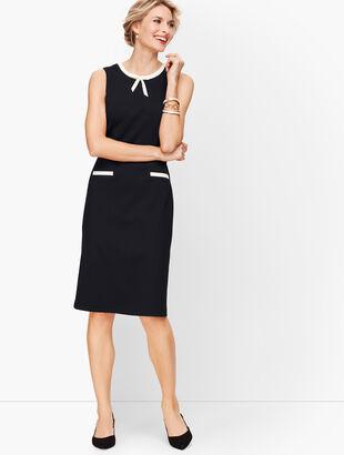 Tipped Ponte Tie-Neck Dress
