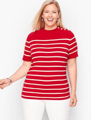 Mockneck Button Shoulder Sweater - Stripe