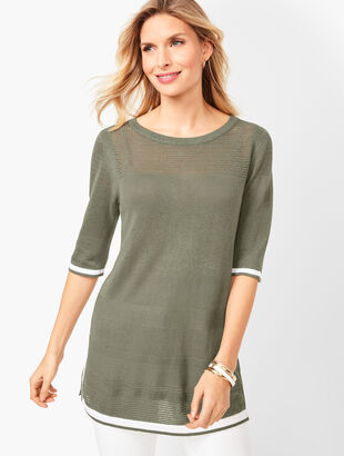 Tipped Linen-Blend Sweater