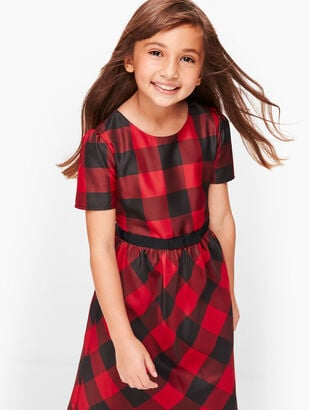 Girls Buffalo Check Fit & Flare Dress