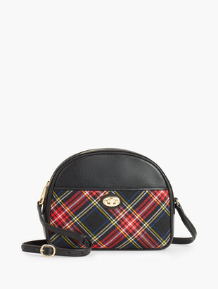 Tartan Half Moon Crossbody Bag