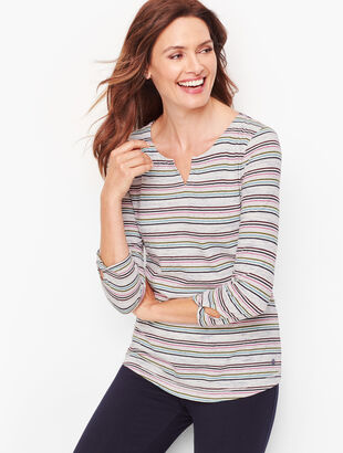 Prism Stripe Split Neck Tee