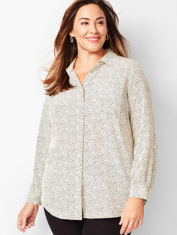 Washable-Silk Button-Down Shirt - Dab Dot