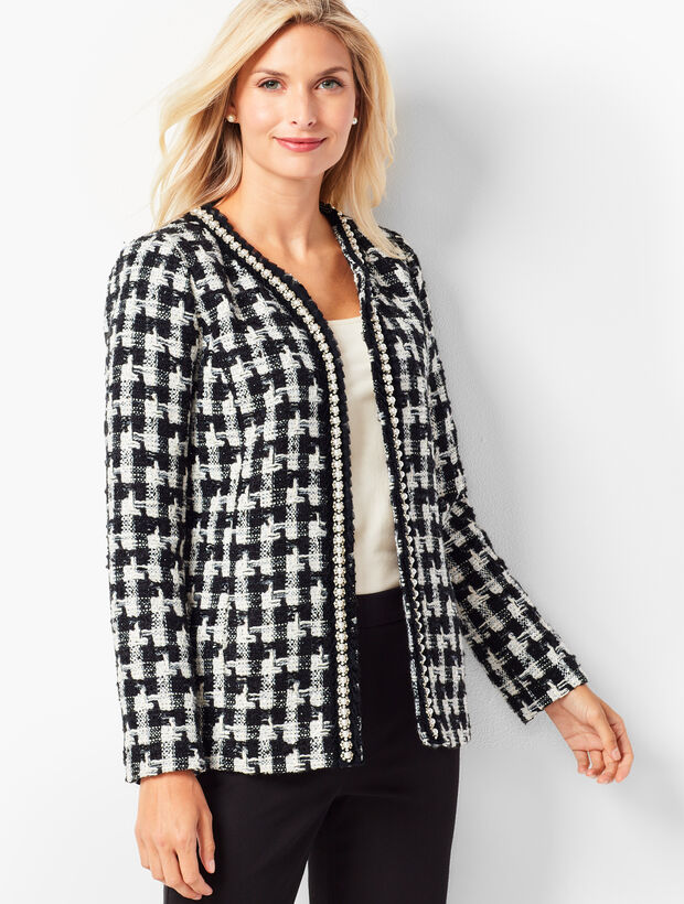 Pearl-Trim Tweed Jacket
