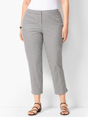 Plus Size Tailored Gingham Crops - Curvy Fit