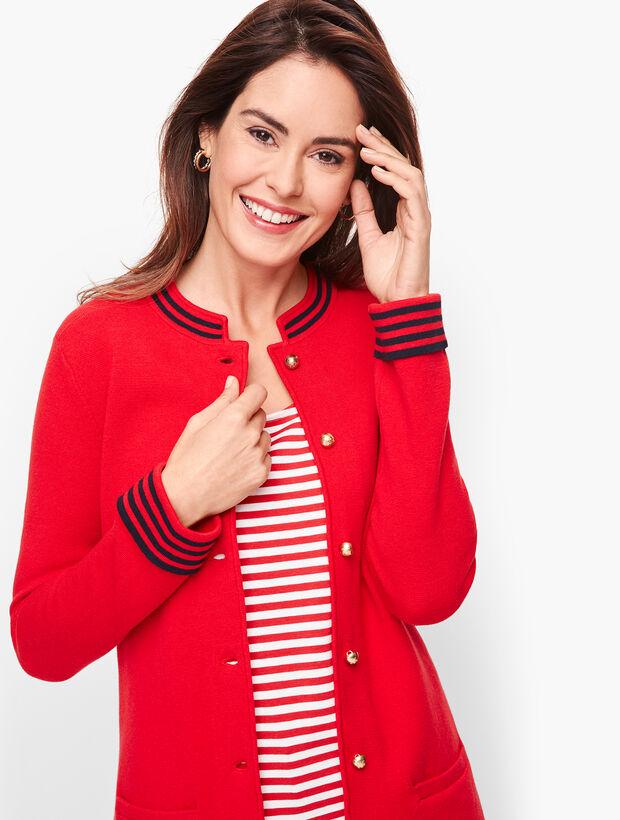Stripe Trim Sweater Jacket