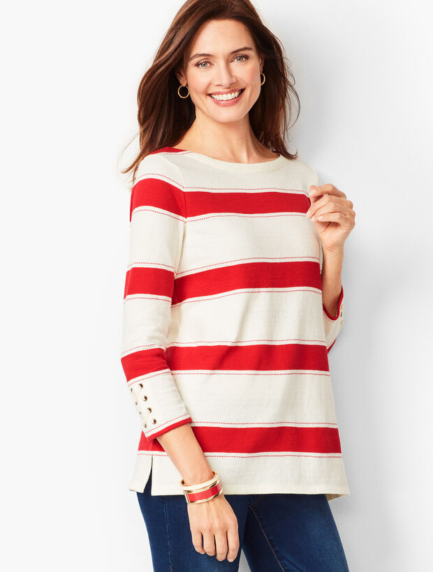 Tidal Stripe Bateau-Neck Top