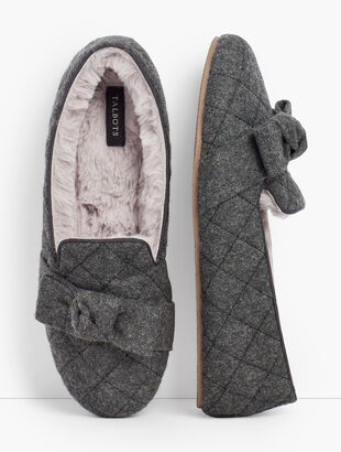 Fireside Bow Slippers - Quilted Flannel