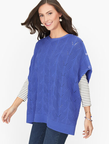 Pointelle Cableknit Poncho