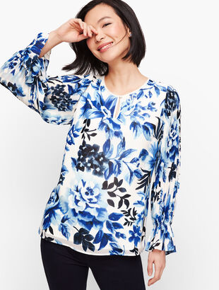 Gathered Sleeve Watercolor Floral Top