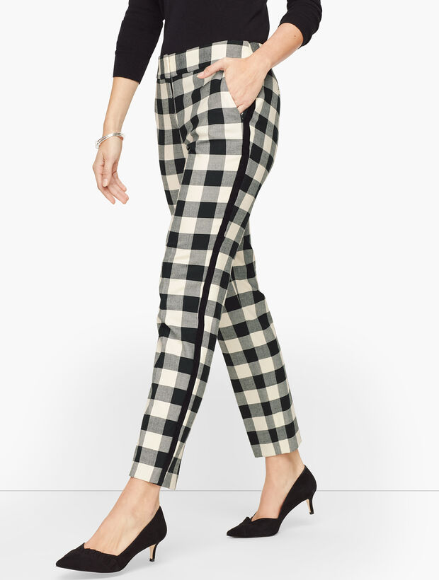 Talbots Hampshire Ankle Pants - Velvet Trim Buffalo Check
