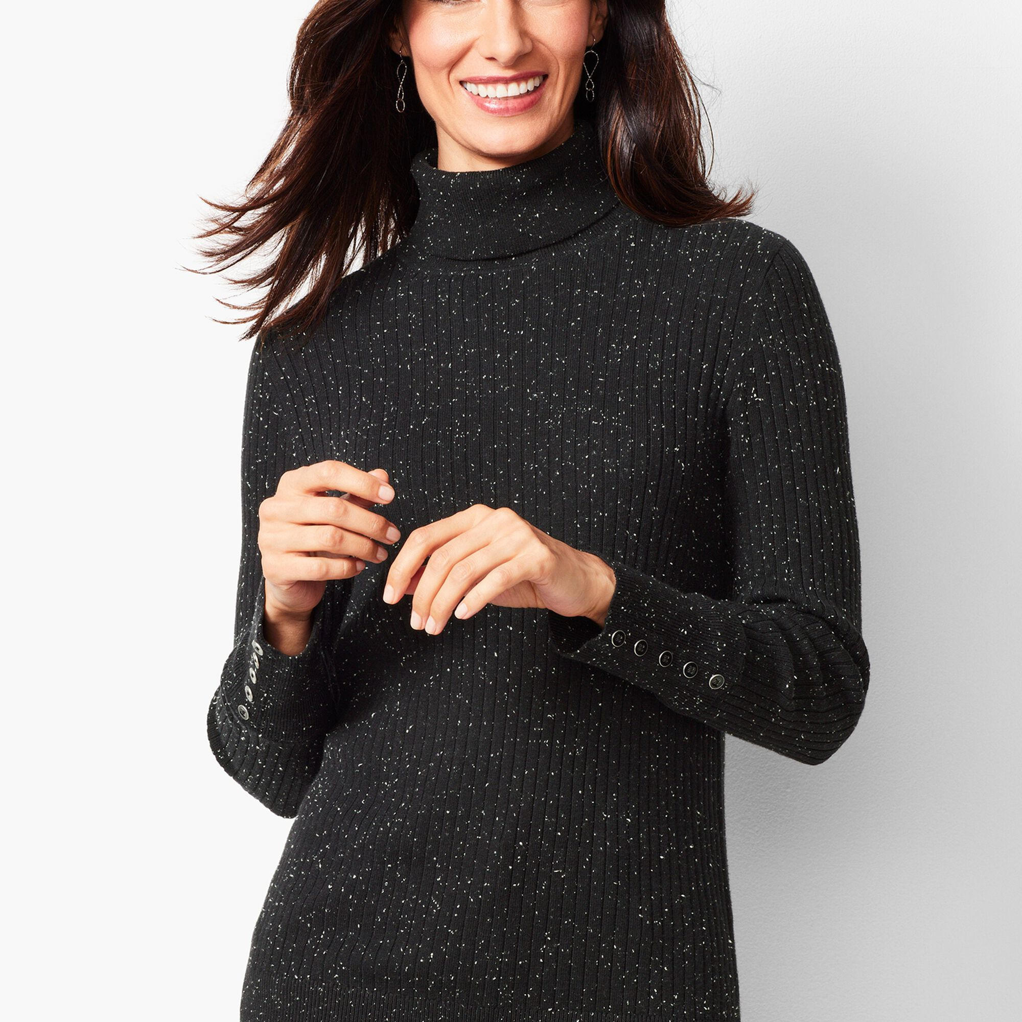 b19de781ad55 Button-Cuff Ribbed Turtleneck Sweater - Donegal