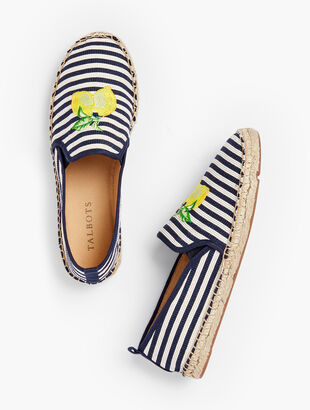 Izzy Espadrilles - Embroidered Lemon