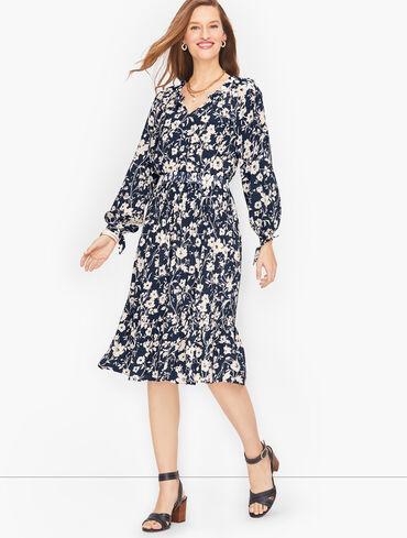 Smocked Split Neck Dress