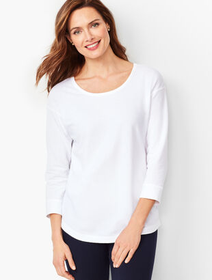Crisscross Three-Quarter-Sleeve Tee - Solid