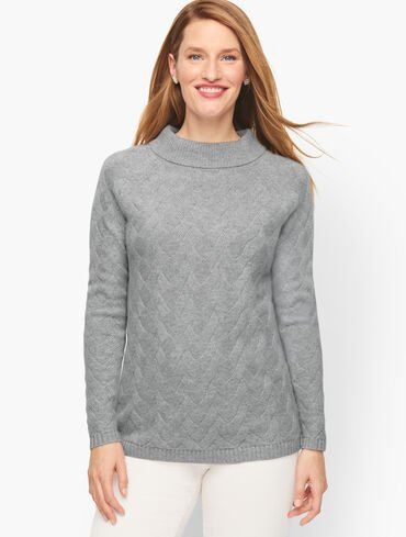 Cable Knit Cashmere Tunic Sweater