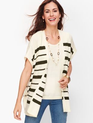 Striped Open Vest