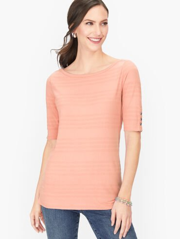 Textured Cotton Tee - Solid