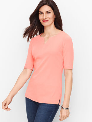 Cotton Split-Neck Tee