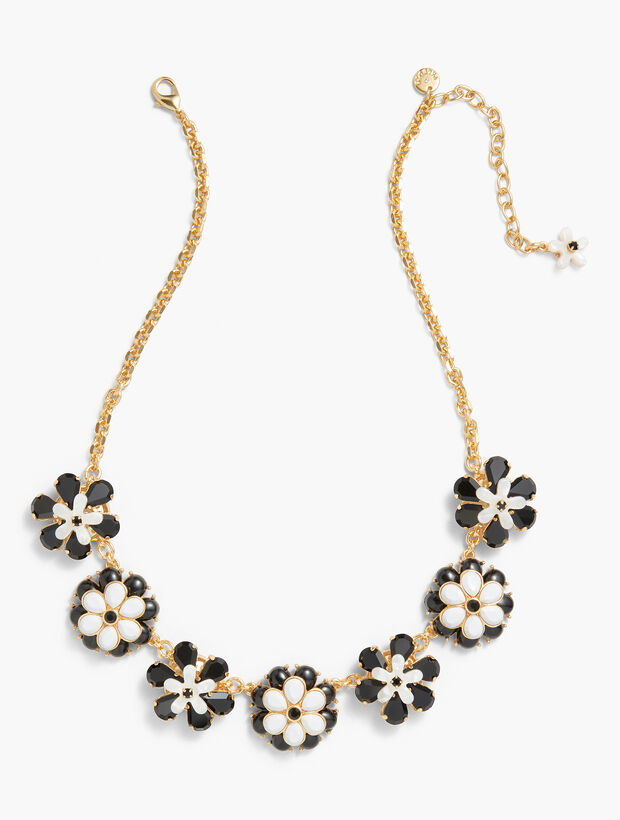 Black & White Floral Necklace