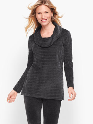 Luxe Velour Textured Stripe  Pullover