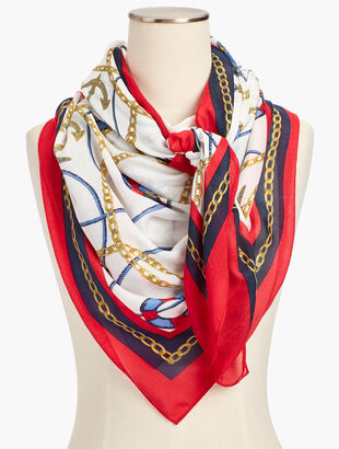 Nautical-Print Square Scarf