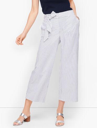 Tie Waist Wide Leg Crop Pants - Sunnyvale Stripe