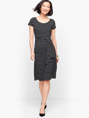 Faux-Wrap Jersey Shift Dress - Stripe