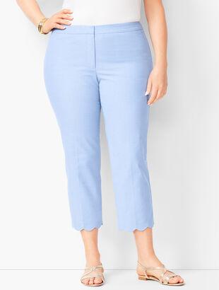 Plus Size Talbots Chatham Scallop-Hem Crops - Oxford Blue