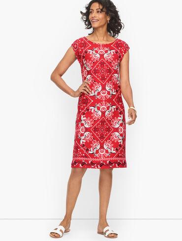 Cotton Shift Dress - Intricate Bandana