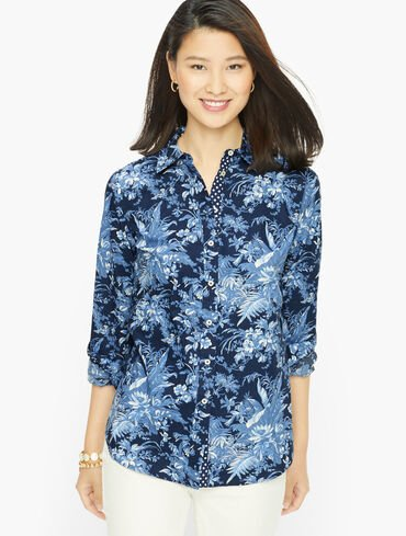 Cotton Button Front Shirt - Fall Toile