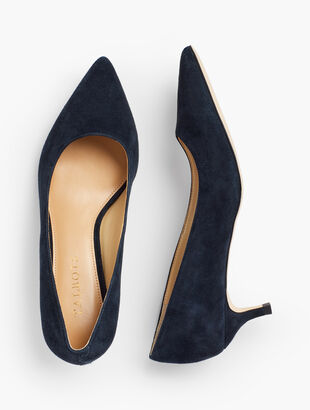 Sylvie Kitten Heel Pumps - Suede