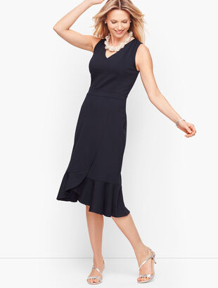 Ponte Flounce Hem Wrap Dress